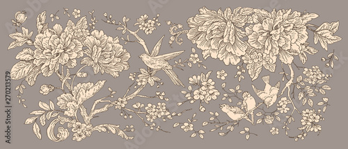 Door stickers Floral Peonies roses eustoma blooming Apple tree branch bird of Paradise Valentine's day