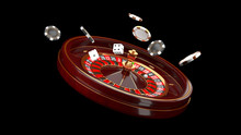 Casino Background. Luxury Casino Roulette Wheel Isolated On Black Background. Casino Theme. Close-up White Casino Roulette With A Ball, Chips And Dice. Poker Game Table. 3d Rendering Illustration.