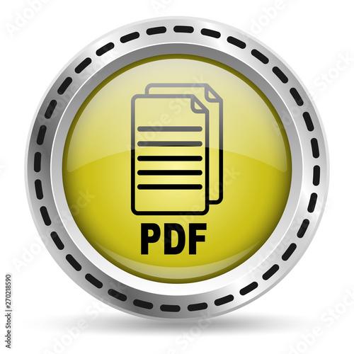 Aluminium Prints Scooter PDF file icon. Yellow glossy button for web design. Metal case. Vector.
