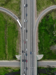 Road highway, drone aerial top view to car countryside traffic
