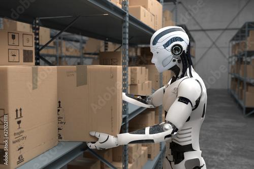 Fotografia 3D Illustration Roboter als Lagerist