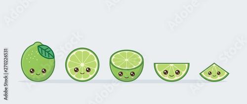 Lime set drawn cute kawaii food faces Canvas Print