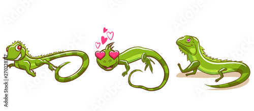 iguana vector set graphic design Tablou Canvas