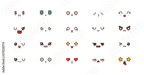 Photo  Kawaii cute faces smile emoticons. Japanese emoji
