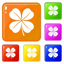 Clover Leaf Icons Set Collecti...