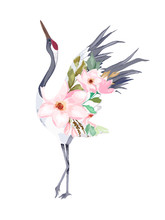 Japanese Print With Crane Of  Flowers. Vector Illustration. Watercolor Style