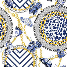 Chain Seamless Pattern With Leopard Skin Elements And Butterflies. Animal Print. Baroque Trend. Vector Illustration