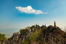 Wat Chaloem Phrachomklao Rachanuson That The Tample And Pagoda On Rock Mountain In Sunshine Beautiful. Architecture Landmark Lampang,Thailand