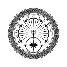 Black Compass Silhouette With Abstract Ornament Isolated On White Background