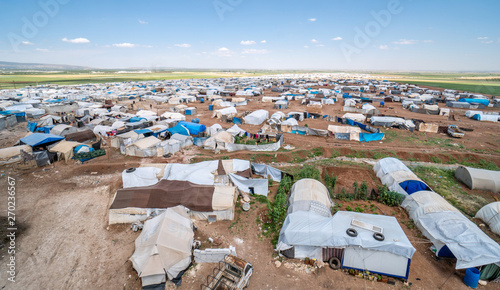 Recess Fitting Camping AZEZ, SYRIA – MAY 19: Refugee camp for syrian people on May 19, 2019 in Azez, Syria. In the civil war that began in Syria on 2011, 12 million people were displaced.
