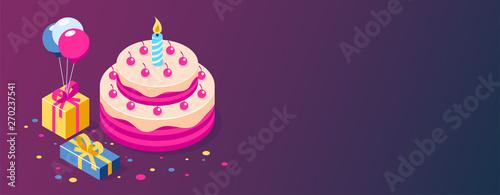 Canvastavla Happy Birthday 3d vector concept