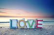 canvas print picture - LOVE - Strandurlaub romantisch