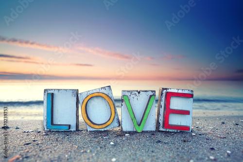 Obraz LOVE - Strandurlaub romantisch - fototapety do salonu