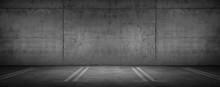Dark Garage Car Parking Background Concrete Wall With Floor
