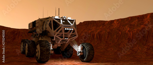Garden Poster Brown Extremely detailed and realistic high resolution 3d illustration of a Mars Rover Vehicle exploring martian landscape