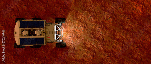 Montage in der Fensternische Violett rot Extremely detailed and realistic high resolution 3d illustration of a Mars Rover Vehicle exploring martian landscape