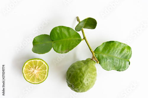green bergamot on white background, heab for protect hair loss problem Canvas Print