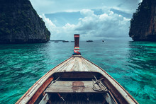 Long-tail Boat Travel To The Island,Phi Phi Island,Blue Sea