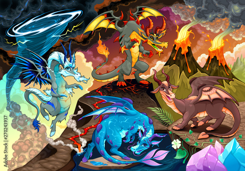 Tuinposter Kinderkamer Cycle of air, earth, fire, and water with each dragon