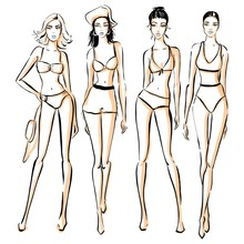 Sexy Woman In Bikini Swimsuit. Summer Beach Fashion. Beautiful Girls In Bathing Suits Of Different Types. Sketch