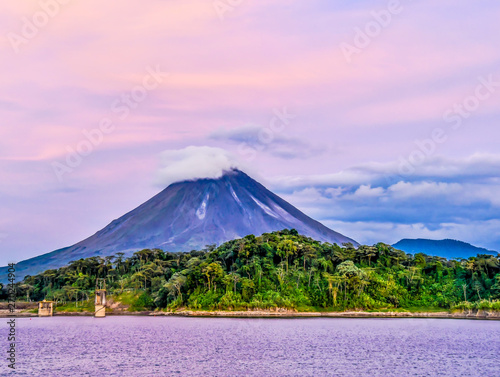 Papiers peints Rose clair / pale landscape with Arenal Volcan in costa rica central america
