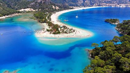 Oludeniz, Turkey. Blue Lagoon beach, aerial. Beautiful sea landscape for travel background.