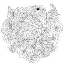 Pretty Bird In Fancy Flowers For Your Coloring Book