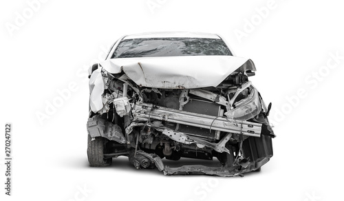 front side of crashed car from accident Canvas Print