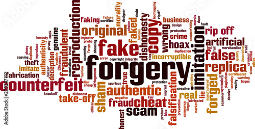 Forgery word cloud Fototapeta