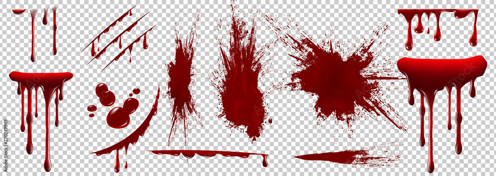 Fototapety, obrazy: Realistic Halloween blood isolated on transparent background. Blood Drops and splashes. Can be used on halloween design, medical, healthcare, flyers, banners or web. Vector blood illustration. EPS 10.