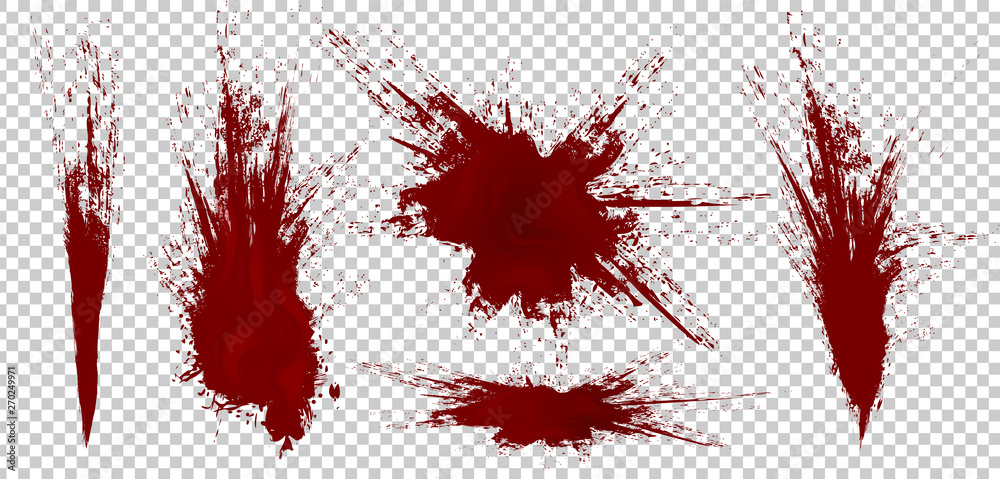 Fototapeta Realistic Halloween blood isolated on transparent background. Blood Drops and splashes. Can be used on halloween design, medical, healthcare, flyers, banners or web. Vector blood illustration. EPS 10.