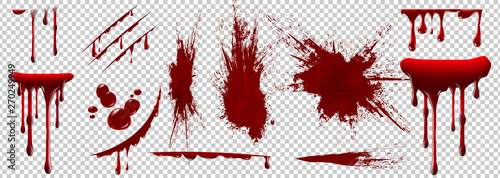 Foto auf Leinwand Formen Realistic Halloween blood isolated on transparent background. Blood Drops and splashes. Can be used on halloween design, medical, healthcare, flyers, banners or web. Vector blood illustration. EPS 10.