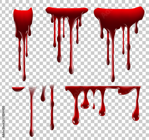 Cuadros en Lienzo Realistic Halloween blood isolated on transparent background
