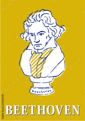 ベートーベン、イラスト、胸像、ポップ Canvas Print