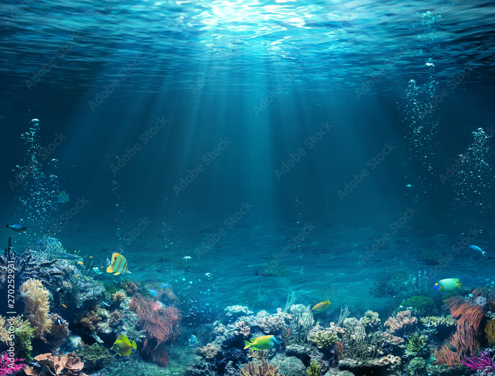 Fototapety, obrazy: Underwater Scene - Tropical Seabed With Reef And Sunshine