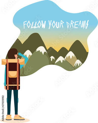 Motivational travel poster with mountains and boy with backpack Wallpaper Mural