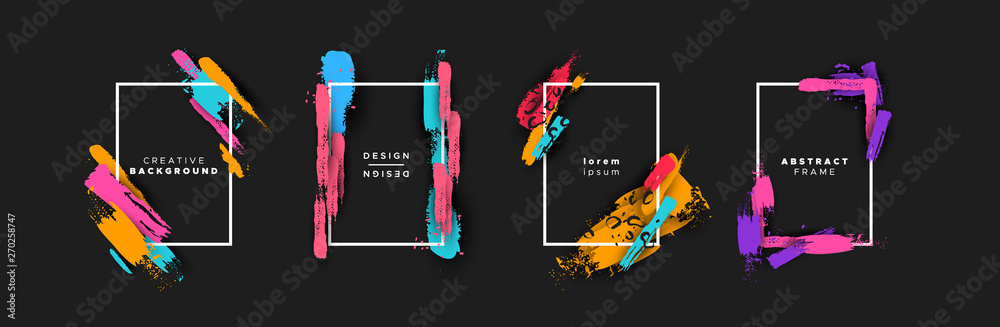 Fototapeta Abstract color brush background template set