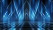 Leinwandbild Motiv Background of empty stage show. Neon light and laser show. Laser futuristic shapes on a dark background. Abstract dark background with neon glow