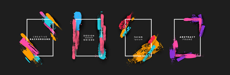 Abstract color brush background template set