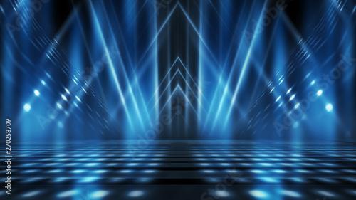 Fototapeta Background of empty stage show. Neon light and laser show. Laser futuristic shapes on a dark background. Abstract dark background with neon glow obraz na płótnie