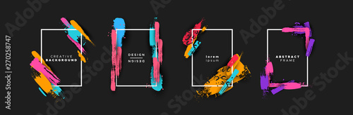 Obraz na plátne Abstract color brush background template set