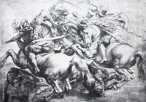 Obraz na plátně  TheBattle of Anghiariby Rubens in the vintage book Leonardo da Vinci by A