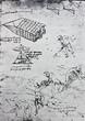 The sketch of digging person, mechanism. Manuscripts of Leonardo da Vinci. Code B Folio 51 recto in the vintage book Leonardo da Vinci by A.L. Volynskiy, St. Petersburg, 1899