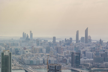 Aerial view of Abu Dhabi city skyline, famous towers and skyscrapers
