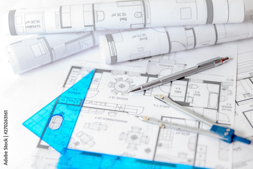 Fototapeta Bauplanung, Bauzeichnungen mit Stift und Zirkel