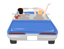 Convertible With People.Rear View.Vector Image