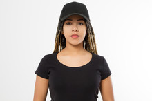 Template Blank Black T Shirt And Baseball Hat. African American Woman In Summer Clothes With Copy Space Isolated On White Background. Afro Hairstyle. Mock Up, Place For Print. Closeup Girl Front View