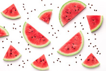 Sliced Watermelon And Seeds On...