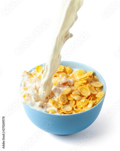 Cornflakes dry breakfast with milk Fototapete