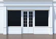 Classic Shopfront With Large Windows. Small Business White Store Facade
